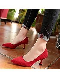 07f4656724aef Yukun Talons hauts Talon Aiguille pour Femmes à Talons Aiguilles et  Chaussures de Mariage Rouges