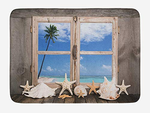 VTXWL Beach Bath Mat, Summer Holiday wih Seashells Starfish and Palm Tree Ocean Print, Plush Bathroom Decor Mat with Non Slip Backing, 23.6 W X 15.7 W Inches, Pale Brown Sky Blue and White