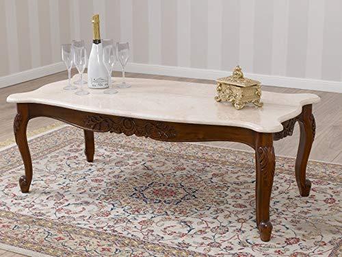 Simone Guarracino Couchtisch Arald Italienischer Barock Stil Wohnzimmertisch walnuss Marmorplatte Creme