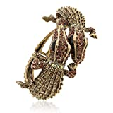 Bling Jewelry Crystal Double Crocodile Alligator Bracelet Statement Gold Plated