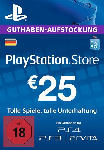 PSN Card-Aufstockung | 25 EUR | PS4, PS3, PS Vita Playstation Network Download Code - deutsches Konto