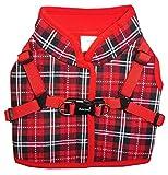 Beroni Hundeweste Hundejacke mit integriertem Hundegeschirr weich verstellbar für Kleine Hunde bis Westie rot kariert (M (Bitte Maße beachten!))