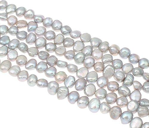 perlen Zuchtperlen 6mm Silber-Grau Reiskorn Natur Barock Edelstein Perlen Schmuckperlen Schmuckstein Perle Zum Fädeln für DIY Kette Basteln Pearl Beads Gemstone D492 ()