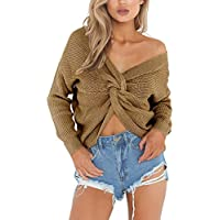AIYUE® Jersey Suéter Jerséis Mujer de Punto Manga Larga Cuello V Casual Top Sweater Pullover Corto Invierno Otoño