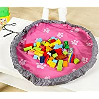 Preisvergleich für Lalang Tragbare Kinder Aufräumsack Spieldecke Spielzeug Speicher Tasche Aufbewahrung Beutel Spielzeugaufbewahrung (Rose Red)