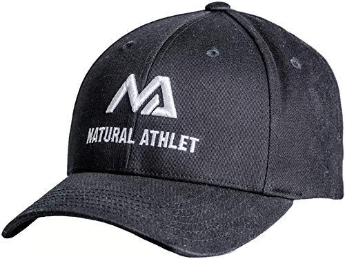 Natural Athlet Herren Basecap - Sport Snapback Cap in schwarz - Männer Freizeit Kappe verstellbar für Fitness, Sport, Gym & Training