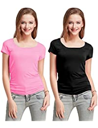 Fashion Line Cotton Lycra Tshirt for Girls/Women (Light Pink & Black, Pack of 2)