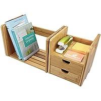 Bamboo Desk Organizer Tidy, Desktop espandibile regolabile Libreria con cassetti - Desktop Hanging File