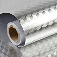 Homeme Aluminum Foil Contact Paper, 500 x 60cm Self-Adhesive Kitchen Wallpaper Decorative Removable Wallpaper with PVC Waterproof Oil-proof for Kitchen Countertop Cabinet Furniture-Silver