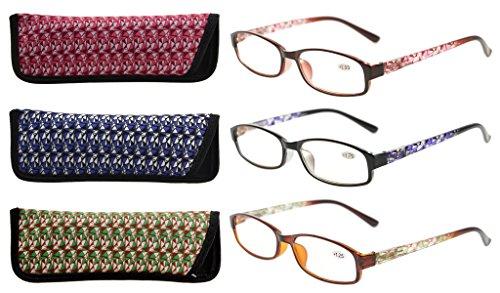 Eyekepper 3er Pack Damen-Lesebrille mit schönem Muster und Softtasche für Damen +1.50