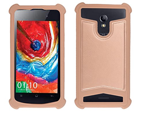 Shopme Shock proof,Silicon,Premium PU Leather Back cover for iBall Andi 4D (Golden Color) (Special Anti Shock Bumpers on all four sides , 360 degress Protection, Access to all Ports)  available at amazon for Rs.199