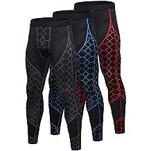 SANANG 3 Pack Pantalon de Compression pour Hommes Baselayer Cool Dry  Collant de Sport Leggings Collants fedef7ee133