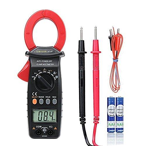 Crenova 6016A Multimeter Strommesszange automatische Messbereichserkennung (Auto-Ranging) Ohm Volt Amp Diodendurchgangs- und Temperaturmessung, großes LCD-Display elektronisches multimeter (Hintere Isolierung)