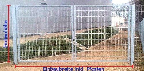 Einfahrtstor verzinkt / Einbau-Breite: 400cm / Einbau-Höhe: 200cm / Rahmen: 60 x 30mm / Inklusive 2 Pfosten / Mattentor Industrietor