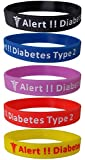 Lot de 5 bracelets en silicone « Diabetes Type 2
