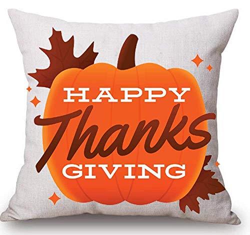 Happy Halloween Witch hat Big Pumpkin Cotton Linen Throw Pillow Case Cushion Cover Home Sofa Decorative 18x18inch/45x45cm