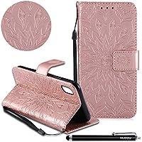 Handyhülle iPhone X / iPhone Xs,HUDDU Sonnenblume Embossed Rosegold Schutzhülle iPhone Xs Hülle Flip Leder Tasche... preisvergleich bei billige-tabletten.eu