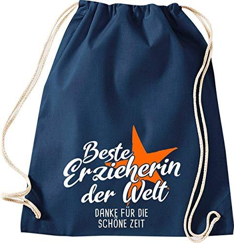 Shirtinstyle Turnbeutel, Beste Erzieherin der Welt Danke für die schöne Zeit Gym Sack Tasche Beutel, Farbe blau