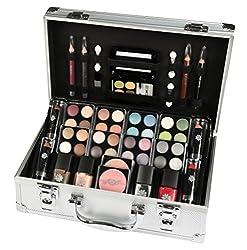 Kosmetikkoffer 'Everybody's Darling' im Alu-Design mit 51 Teilen bestehend aus 32 unterschiedliche Lidschatten, vier Lippenstifte, vier Nagellacke, zwei Rouge, drei Kajal, ein Lippenkonturstift, 3 Doppel-Applikatoren, ein kleiner Rougepinsel. Inklusi...