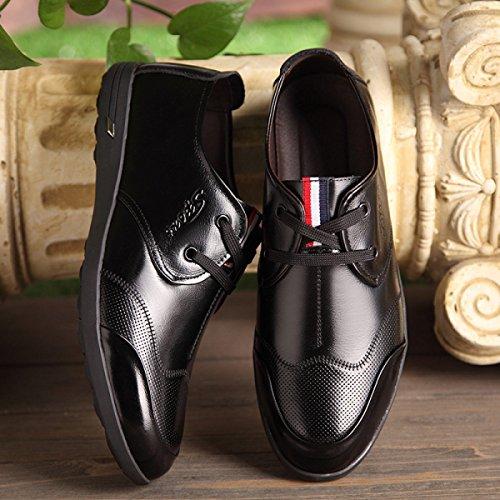 Echtes Rindsleder Schuhe GRRONG Blau Black Freizeit Breathable Leder Braun Schwarz Herren Leder wgTptq