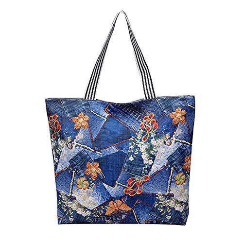 daliuing, Zuhause-Einkaufstasche, Einkaufstasche, einzigartige Bedruckte Umhängetasche für Reisen, Reisen, Einkaufen, wiederholbare und praktische grüne Handtasche, 43 x 45 cm.