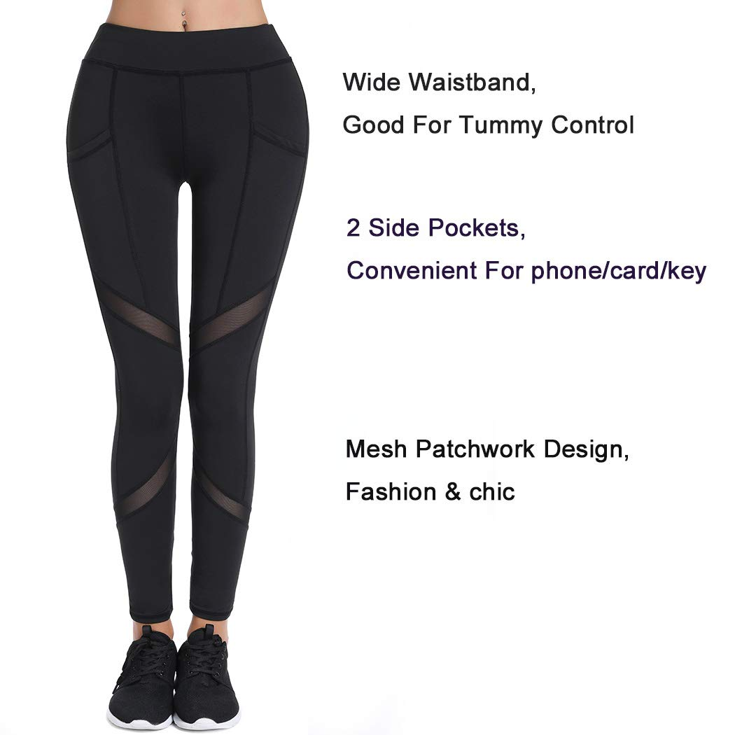 631e3ece73 Joyshaper Sports Leggings with Pockets for Women Black Mesh Capri Trousers  Yoga Pants Tights Gym Workout Fitness Training Athletic Stretchy Skinny  Slim ...
