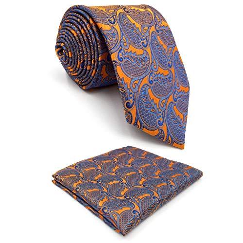 Shlax&Wing Geometrisch Orange Blau Herren Mehrfarbigs Krawatte Fashion Hochzeit Seide Lang -