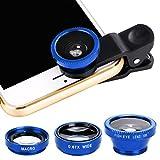 GUIGSI Fisheye Objektiv, 3 in 1 Clip-On 180° Fischauge Objektiv & 0,67X Weitwinkel &Makro-Objektiv, HD Handy Objektiv Set, Kamera Objektiv Kits für Smartphone