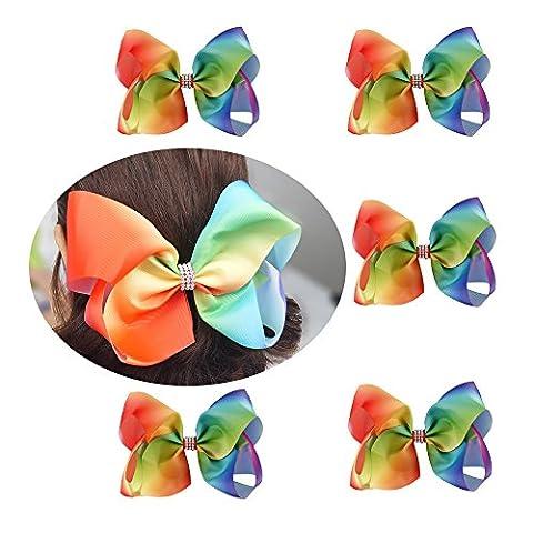 CN 5pcs 20cm Big Boutique Rhinestone Rainbow Hair Bow Grosgrain Ribbon Hair Clips for Girls Teens