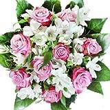 Lila-weißer Rosenstrauß mit Alstromerien - Blumenstrauß'Überraschung zum Geburtstag'