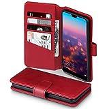 TERRAPIN Huawei P20 Hülle, [ECHT Leder] Brieftasche Case Hülle mit Standfunktion Kartenfächer und Bargeld für Huawei P20 Tasche - Rot