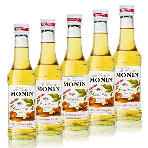 5x Monin Praline Nuss Sirup, 250 ml Flasche