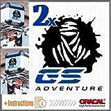 2pcs Dakar GS Adventure Aufkleber BMW R 1200 1150 F 800 650 F700 GS A R1200GS R1200 Motorrad Touratech Motorcycle Givi Trekker Outback Aluminium Panniers SEITENKOFFER Top Case (Black/Blue)