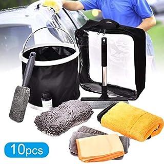 Auto Wasch Set Reinigungswerkzeuge Set 10 Stück,Äußere Und Innenreinigung Set Mit Eimer Tüchern Gewachstem Handtuch Schwamm Bürste Aufbewahrungstasche