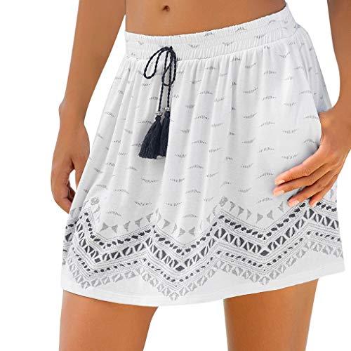 Qmber Ostern Frühling Sommer Mini Tüllrock Shimmer Glam Pailletten verziert Tutu Sexy Festliche Kostüm mit Leopard/Weiß,M (Glam Rock Kostüm Für Damen)