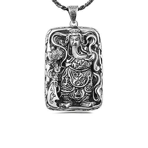 AmDxD 925 Sterling Silber Halskette Gott Reichtums Gott Reichtums General Guan Yu Anhänger Glücksbringer Glück Kette A(Silber Kette 55cm)