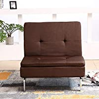 Bristole Adjustable Back Fabric Chair, Brown - 86.5H x 87W x 95D cm