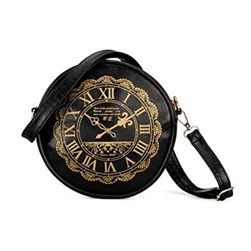 Schultertasche - SODIAL(R) Damen Uhr neu Watch PU Leder suesse Kawaii Handtaschen Geldboersen Schultertasche schwarz