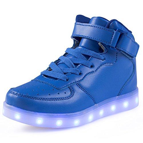 FLARUT Hoch Oben USB Aufladen LED Leuchtend Leuchtschuhe Blinkschuhe Sport Schuhe für Jungen Mädchen Kinder, Blau, 38 EU