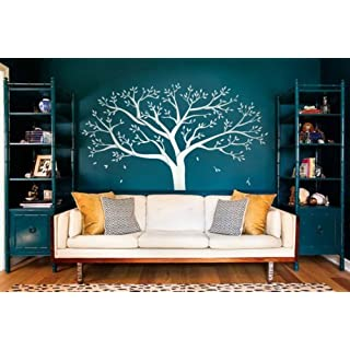 Giant Family Photo Frame Tree wall decal Diy Vinyl Wall Sticker for Baby Kids Room Decoration (White)