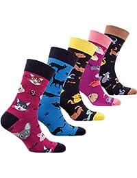 18645c1a713 socks n socks-Homme 5 paire de Luxe Coloré Coton Amusement Nouveauté Robe  Chaussettes Boite