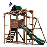 Monkey Bar Climbing Frame Playhouse Slide Swing Set - Dunster House® MonkeyFort® Wilderness