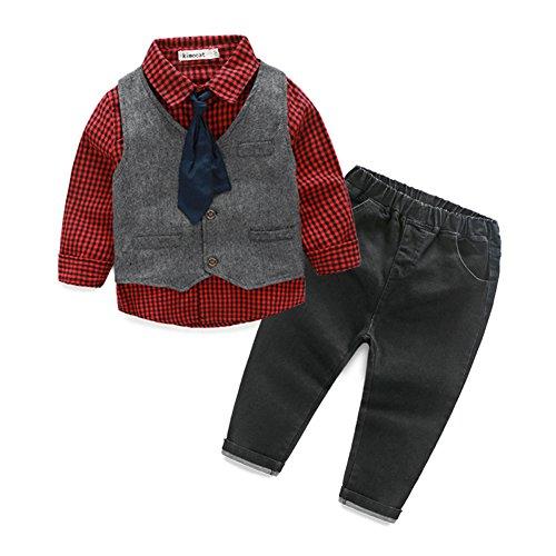 Fanryn Baby Kinder Kinderanzug Jungen Kleider Coat Kleidung kariertes Hemd mit Fliege + Weste + Jeans Bekleidungsset Kleidung Gentleman Anzug mit Herbst Kleidung des (Ninja Outfits Für Mädchen)