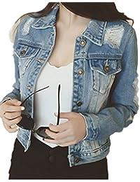 Emin Frauen Damen Mädchen Jeans Denim Schülerin Jeansjacke Jacket  Oberbekleidung Coats Vintage Langhülse Outwear Blouson… 0134341ae0