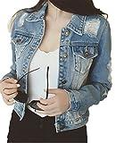 Emin Frauen Damen Mädchen Jeans Denim Schülerin Jeansjacke Jacket Oberbekleidung Coats Vintage Langhülse Outwear Blouson Jacke locker lässig gewaschen Loch Beiläufig Gewaschene Jeansjacke, Blau, 34/S