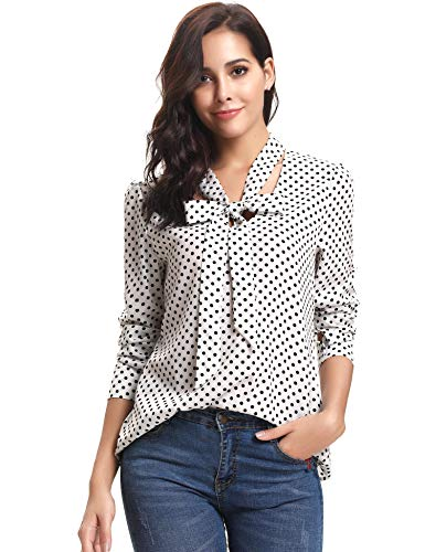 iClosam Damen Bluse Elegante Business Chiffon Langarm V-Ausschnitt Punkte Shirt Bluse