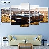 WEPAINTING 5 Pièce 1970 Dodge Charger RT Toile Peinture Photos Modulaire Print Artwork Moderne Voiture De Sport Affiche Home Decor Wall Art, 30X40 30X60 30X80cm,Frame