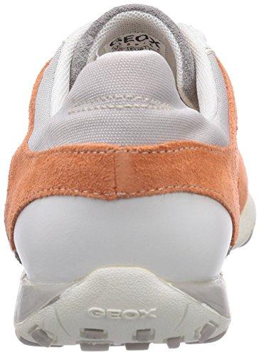 Geox D FRECCIA A, Sneakers basses femme Gris - Grau (LT GREY/PEACHC9149)