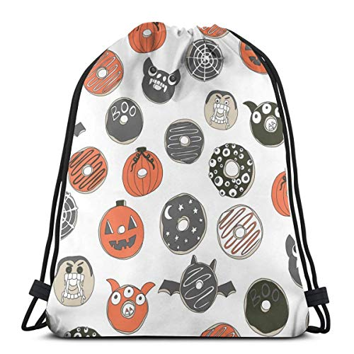 Nicegift Halloween Donuts Fall Autumn Food Cute Spooky Scar Special Backpack Sack Bag Gym Bag for Men & Women 17 X 14 Inch