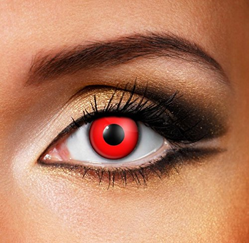 Block Colour Contact Lenses - Red - Pair Red Lenses